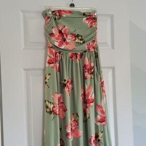SUPER SOFT Strapless Floral Maxi Dress